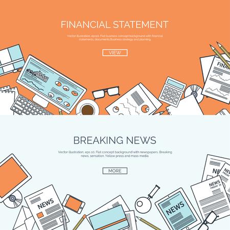 online business: Vector illustration. Flat backgrounds set. Online news. Newsletter and information. Business and market news. Financial report.
