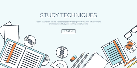 cognition: Vector illustration. Flat backgrounds set. Distance education and learning. Online courses and web school. Knowledge and information. Study process. E-learning. Illustration