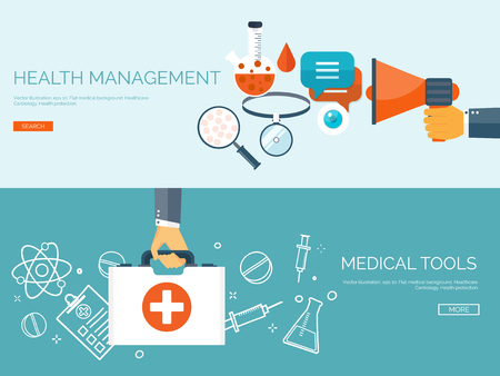healthcare: Vector illustration. Flat header. Medical background. First aid and diagnostic. Medical research and therapy. Global healthcare.