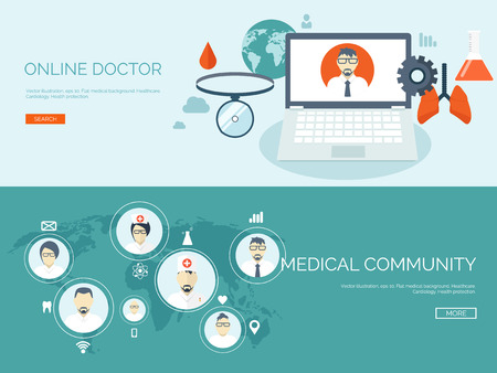 medical emblem: Vector illustration. Flat header. Medical background. First aid and diagnostic. Medical research and therapy. Global healthcare.