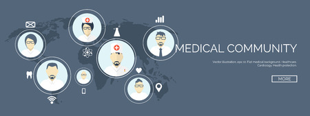 ベクトルの図。フラット ヘッダー。医療の背景。最初の援助と診断。医学研究と治療。グローバル ・ ヘルスケア。