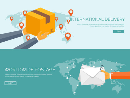 Flat vector illustration backgrounds set. International delivery and worldwide postage. Emailing and online shopping. Envelope and package. Illustration