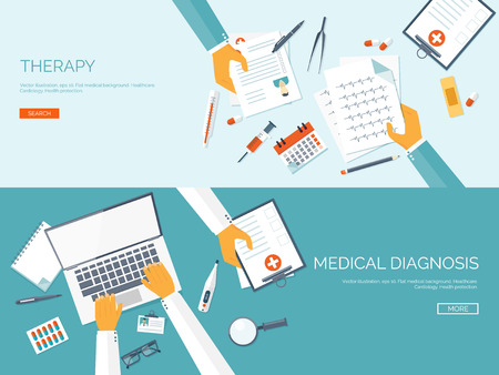 instrumental medico: Ilustración del vector. Antecedentes médicos plana. Primeros auxilios y de diagnóstico. La investigación y la terapia médica. Cuidado de la salud global.