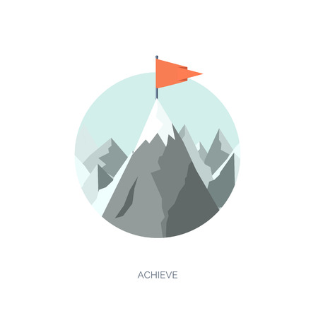 Vector illustration. Flat mountaines. Mission and achievement. Nature and travel. Success and smart solutions concept background. Иллюстрация