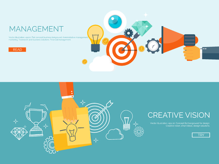 achievement: Flat vector illustration backgrounds set. Target and bulb. Management and achievements. Smart solutions and business aims. Generating ideas. Business planning and strategy