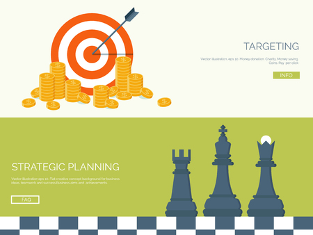 business management: Flat vector illustration backgrounds set. Target, coins and chess. Management and achievements. Smart solutions and business aims. Generating ideas. Business planning and strategy Illustration