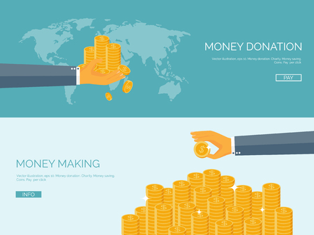 Flat vector illustration backgrounds set. Money and money making. Web payments. World currency. Internet store, shopping. Pay per click. Business.