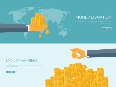 pieniądze: Ustawić tła wektor ilustracja płaskim. Pieniądze i zarabianie pieniędzy. Płatności internetowych. Waluty światowej. Sklep internetowy, zakupy. Pay per click. Biznes.
