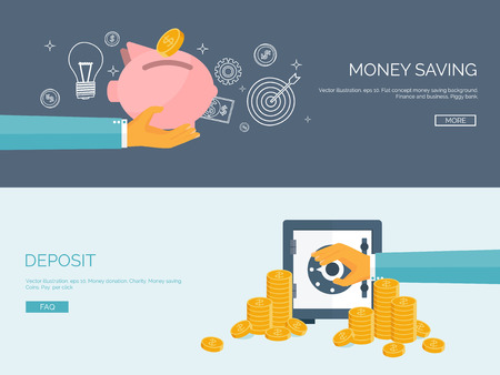 Flat vector illustration backgrounds set. Piggy bank and deposit. Money  saving and money making. Web payments. World currency. Internet store, shopping. Pay per click. Business. 일러스트