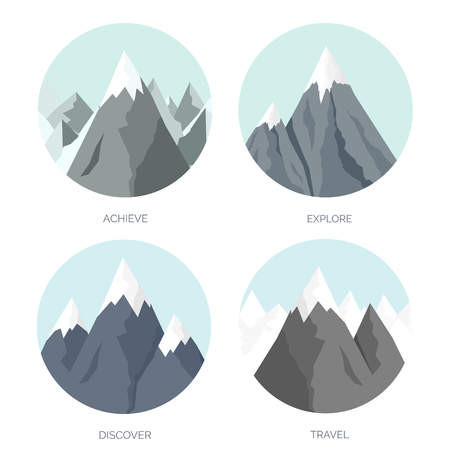 sucsess: Vector illustration. Flat mountaines. Mission and achievement. Nature and travel. Success and smart solutions concept background. Illustration