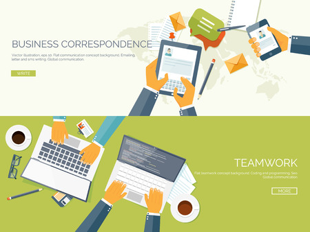 teamwork cartoon: Flat vector illustration backgrounds set. Business correspondence and communication. Teamwork. Smart solutions.