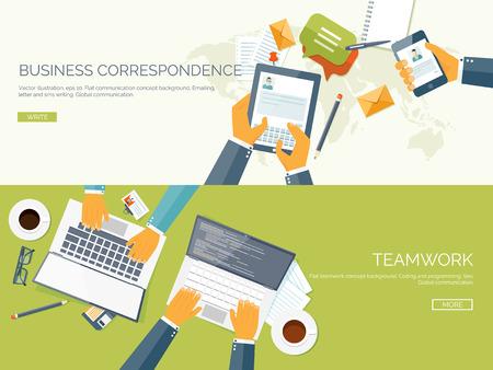 trabajando en equipo: Ilustración del vector plana Conjunto de fondos. La correspondencia comercial y la comunicación. Trabajo en equipo. Soluciones inteligentes.