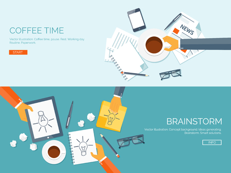bright ideas: Flat vector illustration backgrounds set. Creativity and generating ideas. Brainstorm and coffee pause. Working. Everyday routine. Illustration