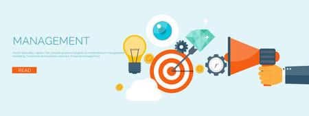 gestion empresarial: Ilustración del vector. Cabecera plana. Target y bombilla. Gestión y logros. Soluciones y objetivos de negocio inteligente. La generación de ideas. Planificación y estrategia de negocios