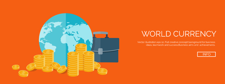 money making: Vector illustration. Flat header. Money and money making. Web payments. World currency. Internet store, shopping. Pay per click. Business. Illustration