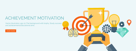 generating: Vector illustration. Flat header.  Target and trophy. Management and achievements. Smart solutions and business aims. Generating ideas. Business planning and strategy