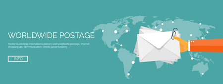 the envelope: Vector illustration. Flat header. International delivery and worldwide postage. Emailing and online shopping. Envelope and package.