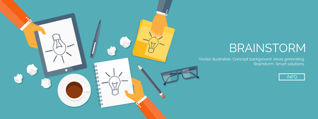 generating: Vector illustration. Flat header.  Creativity and generating ideas. Brainstorm and coffee pause. Working. Everyday routine.