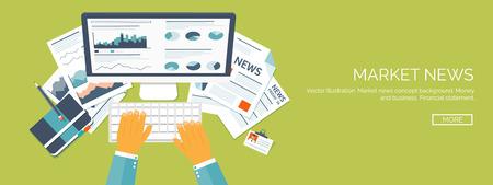 money making: Vector illustration. Flat header.  Market news, money making. Business and smart solutions. Illustration
