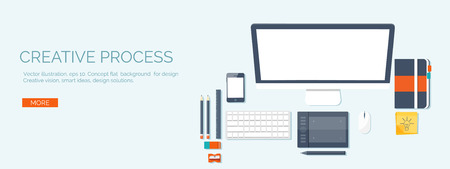 Vector illustration. Flat header.  Workplace. Programming and coding, web design. Laptop and pc.