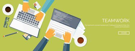 work together: Vector illustration. Flat header. Teamwork. Smart solutions. Programming and coding.