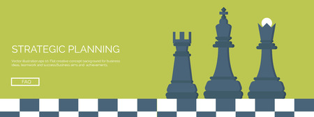 achievement concept: ector illustration. Flat header. Chess. Management and achievements. Smart solutions and business aims. Generating ideas. Business planning and strategy