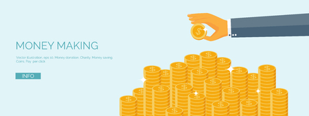 ector illustration. Flat header. Money and money making. Web payments. World currency. Internet store, shopping. Pay per click. Business. Ilustração