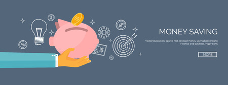 Flat vector illustration backgrounds set. Piggy bank and deposit. Money  saving and money making. Web payments. World currency. Internet store, shopping. Pay per click. Business. Vettoriali