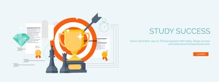 conocimiento: Ilustración del vector. Fondos de estudio planos establecidos. Educación y cursos en línea, tutoriales web, e-learning. Estudio y proceso creativo. Poder de conocimiento. Tutoriales en vídeo. Vectores