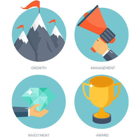 Vector illustration set. Flat business concept background. Achievements and mission. Aims and new ideas. Smart solutions. Travelling.