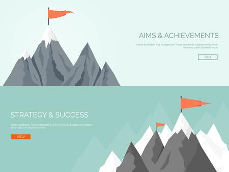ベクトルの図。フラットの山地。ミッションと達成。自然と旅行。成功とスマートなソリューション概念の背景。