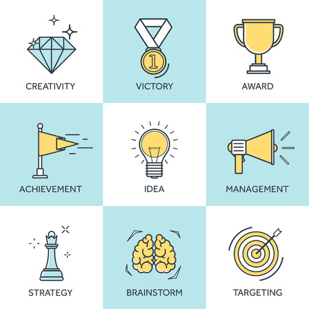 achievement: Vector illustration set. Flat business concept background. Achievements and mission. Aims and new ideas. Smart solutions. Travelling.