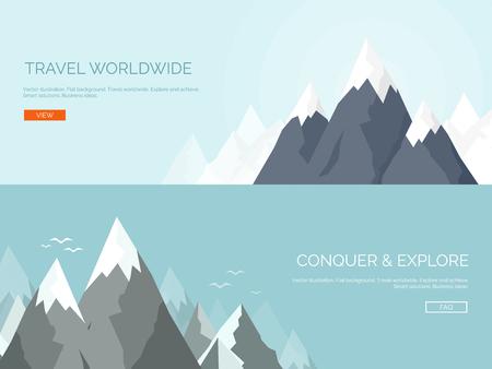 mision: Ilustraci�n del vector. Montes planas. Misi�n y logro. Naturaleza y viajes. El �xito y soluciones inteligentes concepto de fondo. Vectores