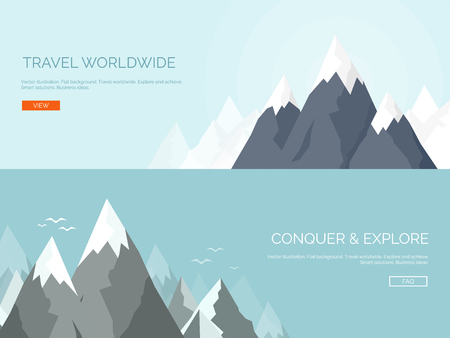 mountains: Vector illustration. Flat mountaines. Mission and achievement. Nature and travel. Success and smart solutions concept background. Illustration