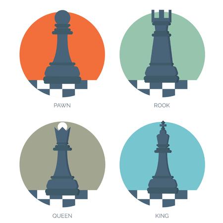 ajedrez: Ajedrez figuras planas. Concepto de la estrategia de fondo. Vectores