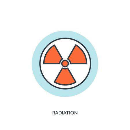 radiacion: Ilustraci�n del vector. icono de la radiaci�n plana. Vectores