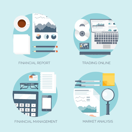 online trading: Vector illustration. Flat header.  Market news, money making. Business and smart solutions. Online trading.