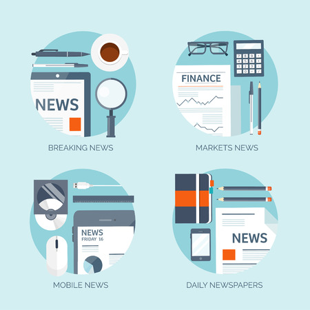 Vector illustration. Flat background. Online news. Newsletter and information. Business and market news. Financial report.