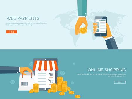 Vector illustration. Flat backgrounds set. Internet shopping. Web store. Global communication and trading. Web business. E-commerce and money making. Internet banking. Ilustrace