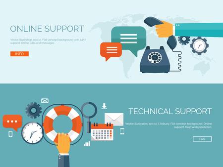 apoyo social: Ilustración del vector. Línea fondo de apoyo concepto. 247. Contáctenos. Vectores