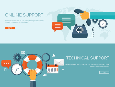 Vector illustration. Online support concept background. 247. Contact us.