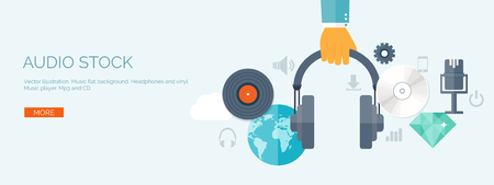 Vector illustration. Flat background. Music.production. Show business. Mp3 and compact disk. Voice recording. Singind and karaoke. Audio store. Illustration