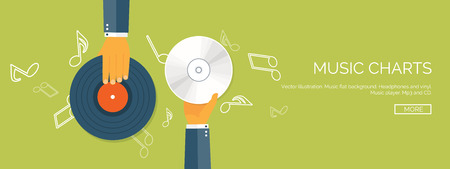 show business: Vector illustration. Flat background. Music.production. Show business. Mp3 and compact disk. Voice recording. Singind and karaoke. Audio store. Illustration