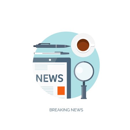 online news: Vector illustration. Flat background. Online news. Newsletter and information. Business and market news. Financial report.