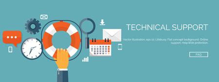 Vector illustratie. Online support concept achtergrond. 247. Neem contact met ons op. Stock Illustratie