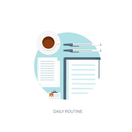 Vector illustration. Workplace. Office. Daily routine. Online jobs. Working sschedule. Business and communication.