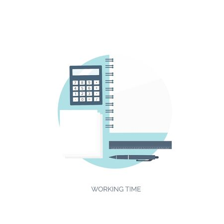 financial statement: Vector illustration. Flat background. Workplace. Calculator, ruler, pencil and documentation. Financial statement and business documents.