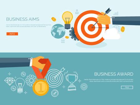 triunfador: Ilustración vectorial conjunto. Plano de fondo concepto de negocio. Logros y misión. Objetivos y nuevas ideas. Soluciones inteligentes. Primer lugar. Medalla.