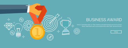 winning first: Vector illustration. Flat business concept background. Achievements and mission. Aims and new ideas. Smart solutions.  First place. Medal. Illustration
