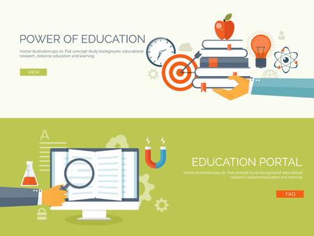 aprendizaje: Ilustración del vector. Fondos de estudio planos establecidos. Educación y cursos en línea, tutoriales web, e-learning. Estudio y proceso creativo. Poder de conocimiento. Tutoriales en vídeo. Vectores